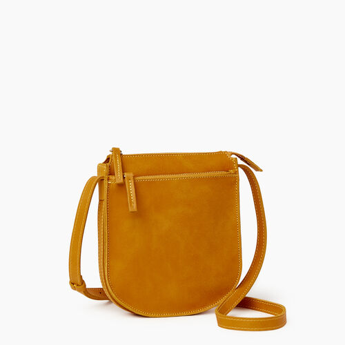 Roots-Leather  Handcrafted By Us Handbags-Lambert Crossbody-Squash Yellow-A