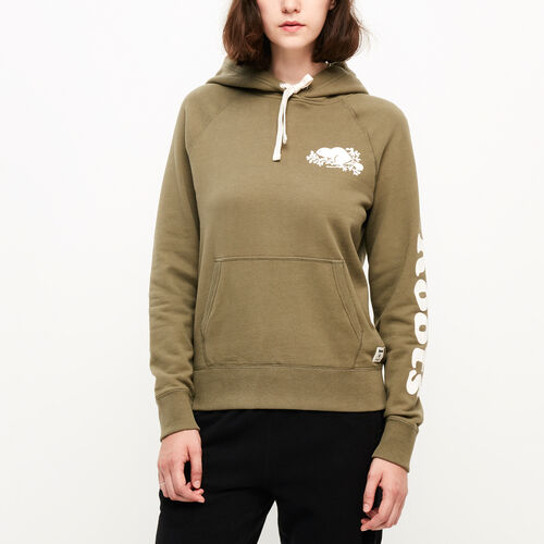 Roots-New For August Women-Remix Kanga Hoody-Burnt Olive-A
