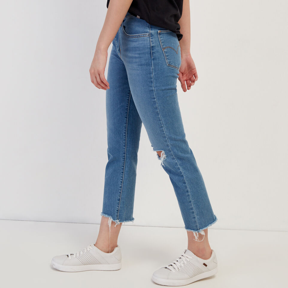 Roots-Women Clothing-Levi's 724 Hi rise Straight Crop Jean-Med Denim Blue-C