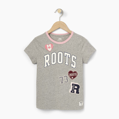 Roots-Winter Sale Kids-Girls Roots Patches T-shirt-Grey Mix-A