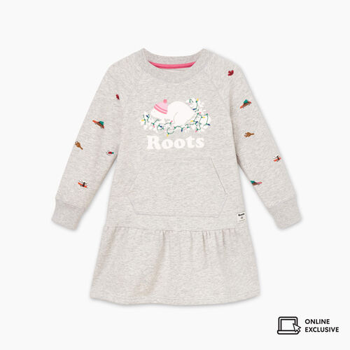 Roots-Kids Toddler Girls-Toddler Holiday Buddy Dress-Snowy Ice Mix-A