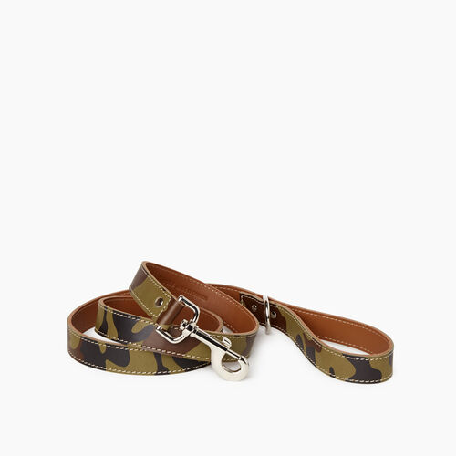 Roots-New For January Dog Accessories-Leather Dog Leash-Green Camo-A