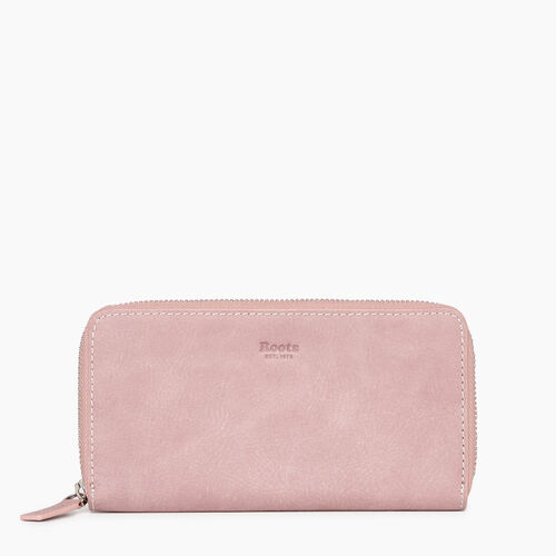 Roots-Leather Categories-Zip Around Clutch Tribe-Woodrose-A