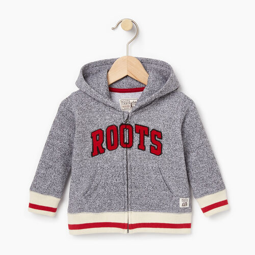 Roots-Clearance Baby-Baby Roots Cabin Full Zip Hoody-Salt & Pepper-A