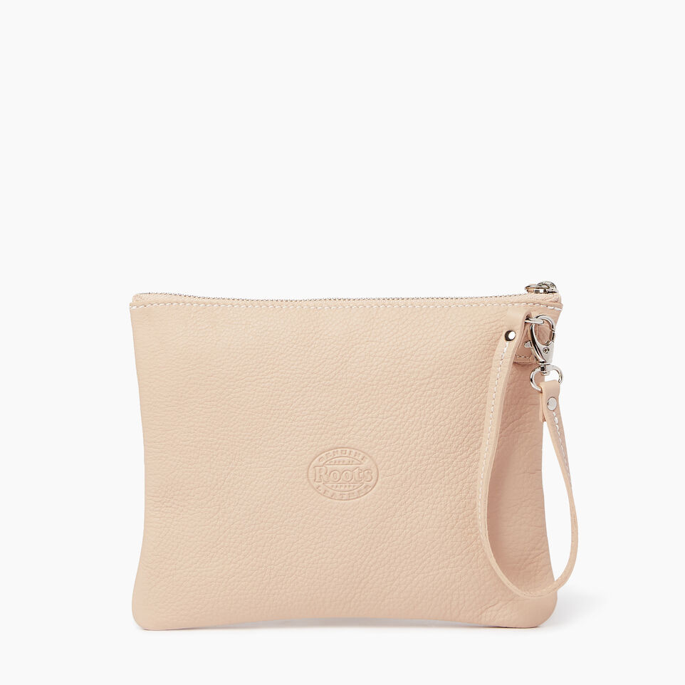 Roots-Leather Our Favourite New Arrivals-Double Zip Wristlet-Pink Mist-C