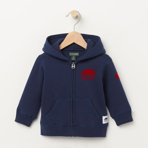 Roots-Kids Tops-Baby Canada Full Zip Hoody-Cascade Blue-A