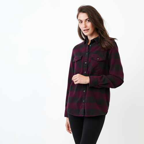 Roots-Women Categories-Park Plaid Shirt-Pickled Beet-A