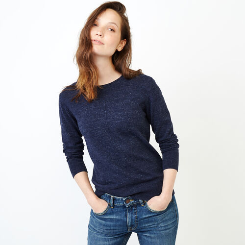 Roots-Women Categories-All Seasons Crew Sweater-Navy Blazer Mix-A