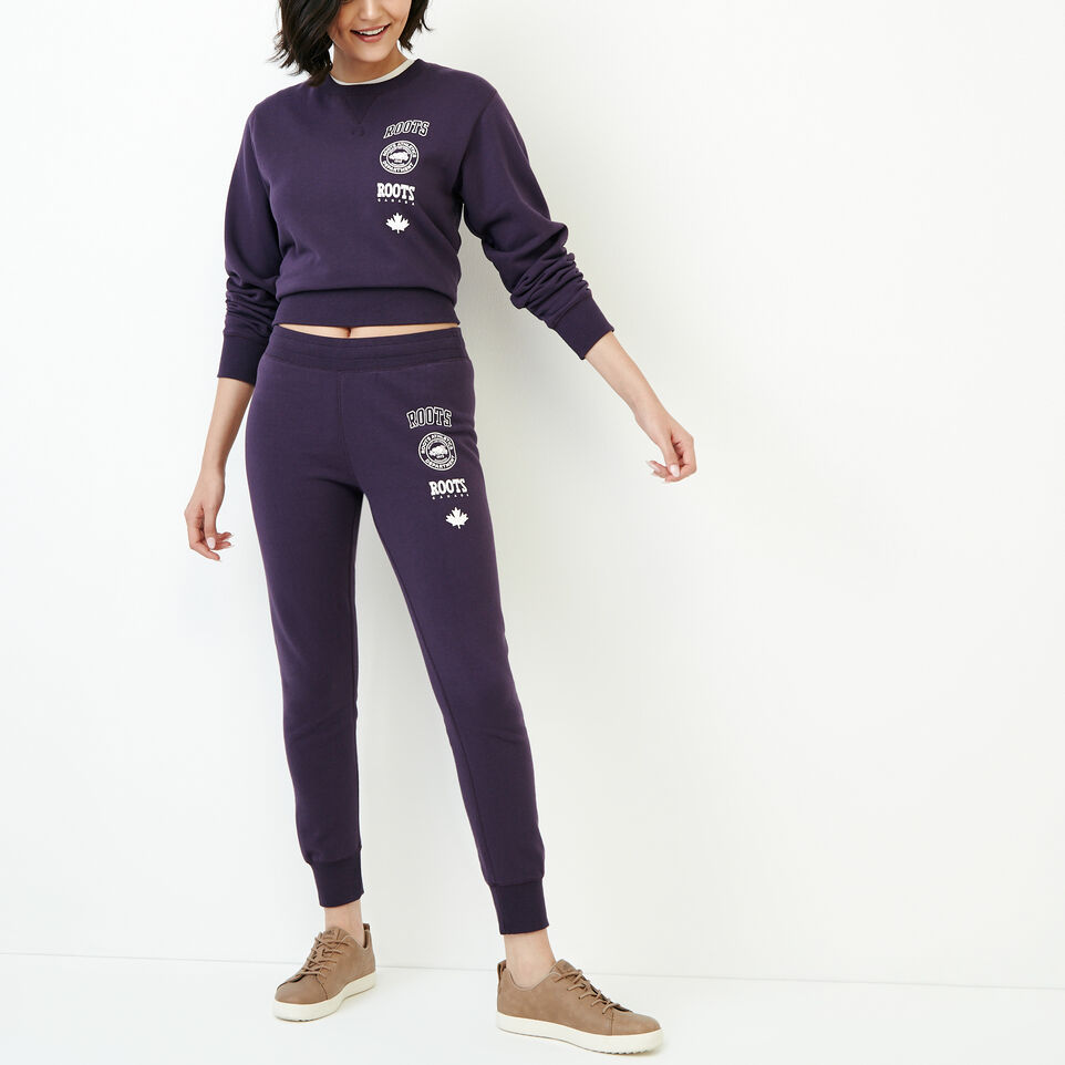 Roots-Women Categories-Stamps Slim Sweatpant-Night Shade-B