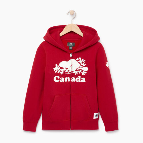 Roots-Kids Canada Collection-Boys Canada Full Zip Hoody-Sage Red-A