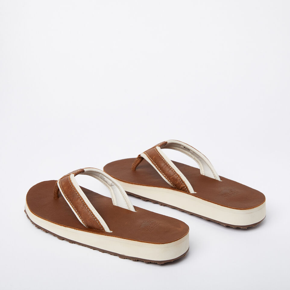 Roots-Women Footwear-Womens Tofino Flip Flop Leather-Natural-C