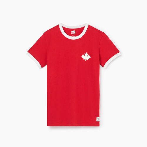 Roots-New For August T-shirts & Shorts-Womens Canada Ringer T-shirt-Sage Red-A