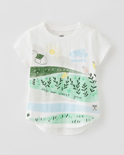 Roots-Kids Tops-Toddler Meadow Print T-shirt-Egret-A