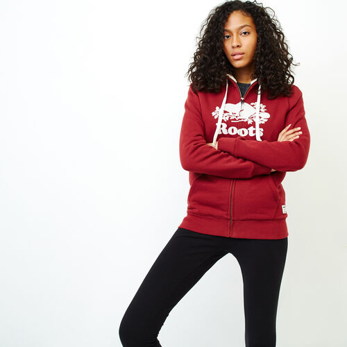 Roots-Women Sweatshirts & Hoodies-Sherpa-lined Hoody-Ruby Wine-A