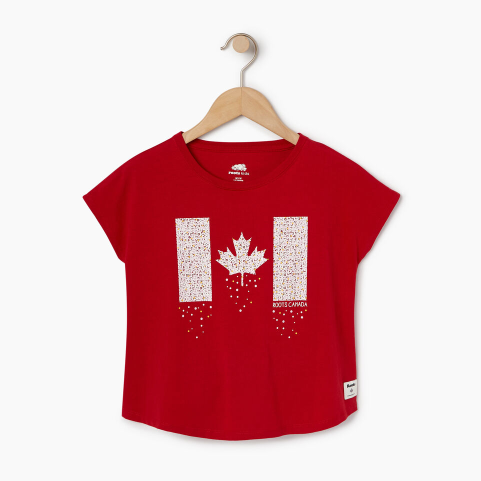 Roots-New For August Kids-Girls Confetti Canada T-shirt-Sage Red-A