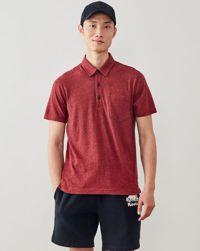 Roots-Men Shirts & Polos-Jersey Peppered Polo-Cranberry Pepper-A