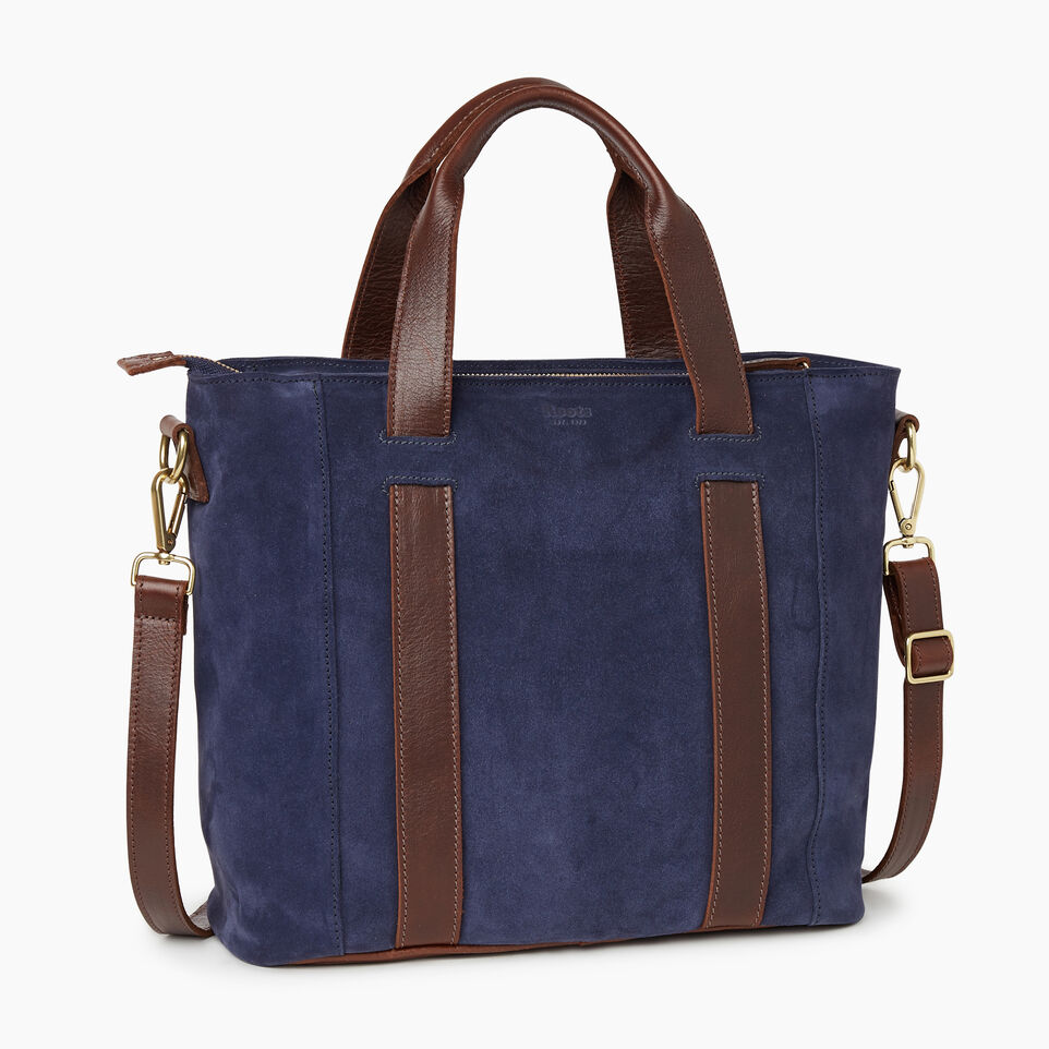Roots-Leather Our Favourite New Arrivals-Victoria Tote Suede-Navy-C