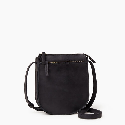Roots-Leather  Handcrafted By Us Handbags-Lambert Crossbody-Jet Black-A