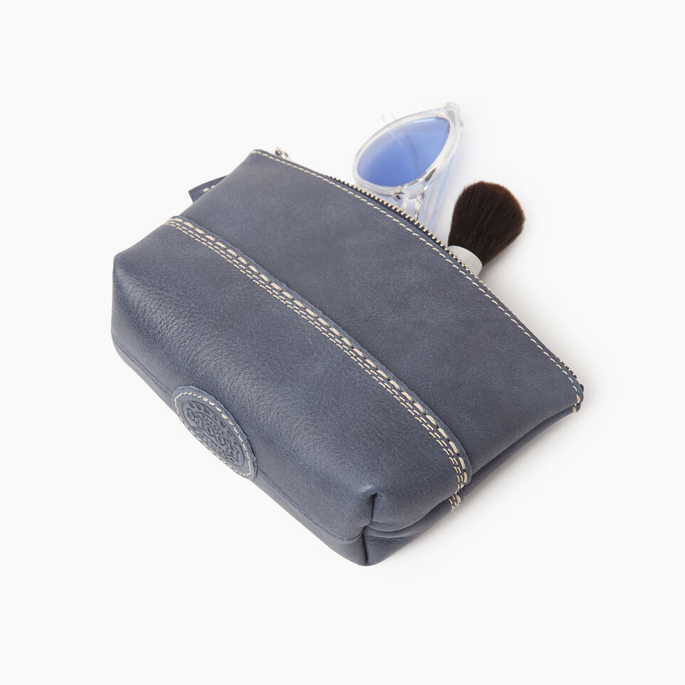 Roots-Leather New Arrivals-Small Canmore Pouch Tribe-Navy-C