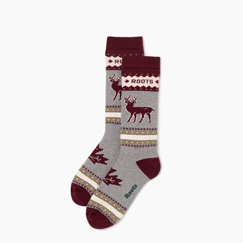 Roots-Women Socks-Woodland Creature Sock-Mulberry-A