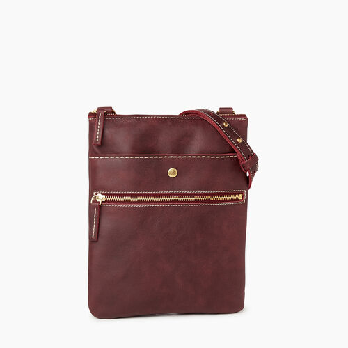 Roots-Leather  Handcrafted By Us Handbags-Rosedale Crossbody-Crimson-A