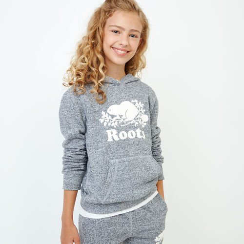 Roots-Kids Tops-Girls Original Kanga Hoody-Salt & Pepper-A