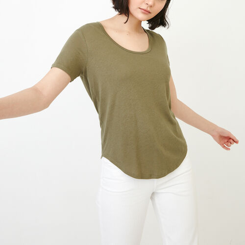 Roots-Women Categories-Valetta Scoop Neck Top-Deep Lichen Green-A