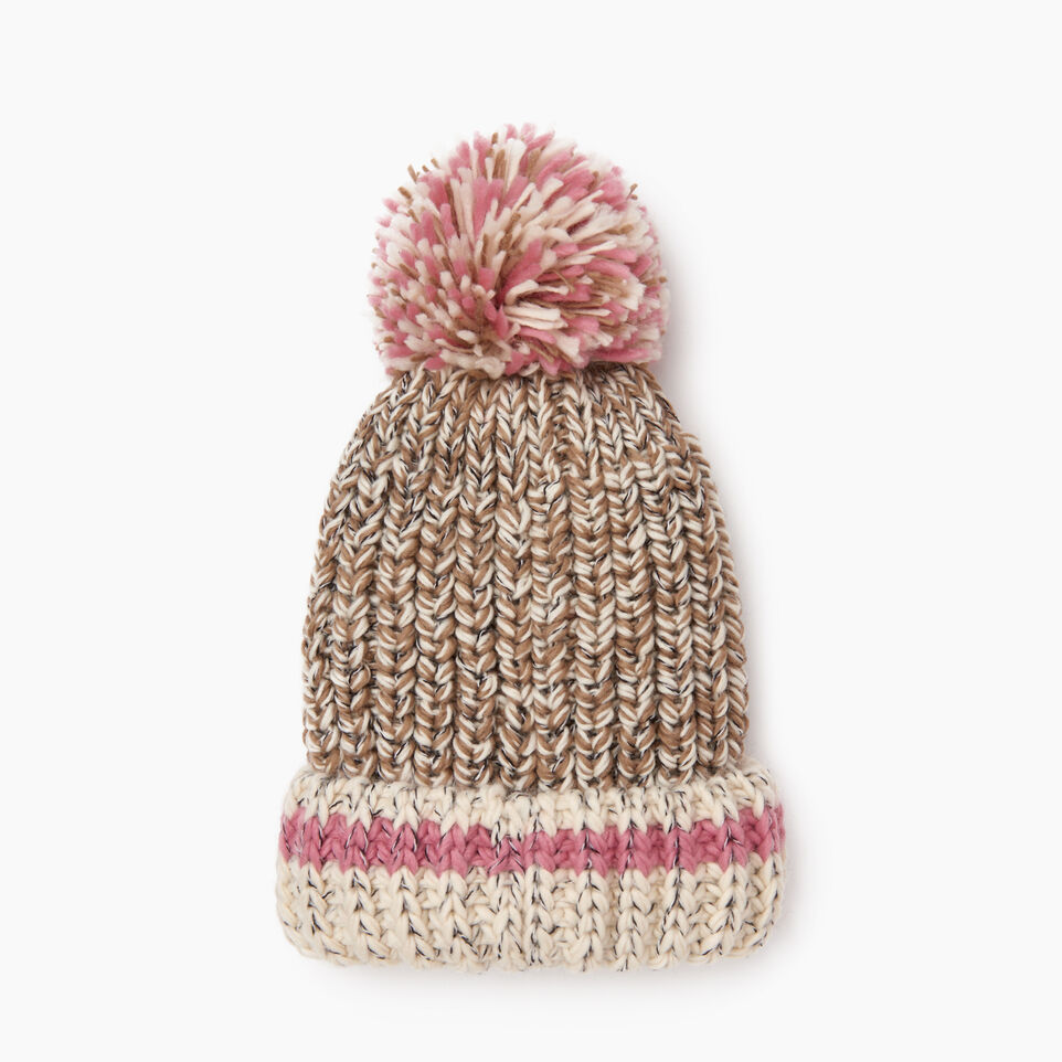 Roots-Women Hats-Chunky Cabin Pom Pom Toque-Fawn Taupe Mix-D