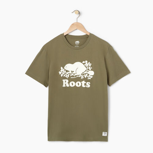 Roots-Men Tops-Mens Cooper Beaver T-shirt-Lichen-A