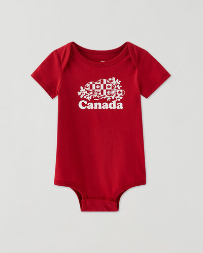 Roots-Kids Baby-Baby Cooper Canada Flag Bodysuit-Sage Red-A