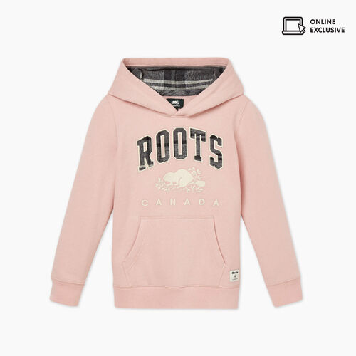 Roots-Sweats Boys-Kids Heritage Plaid Hoody-Pink-A