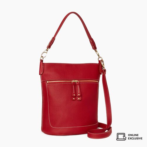 Roots-Leather Crossbody-French Bucket Parisian-Heritage Red-A
