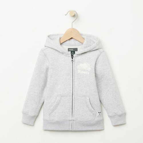 Roots-Kids Tops-Toddler Original Full Zip Hoody-Snowy Ice Mix-A