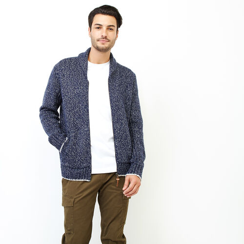 Roots-Men Our Favourite New Arrivals-Snowy Fox Zip Cardigan-Navy Fox-A