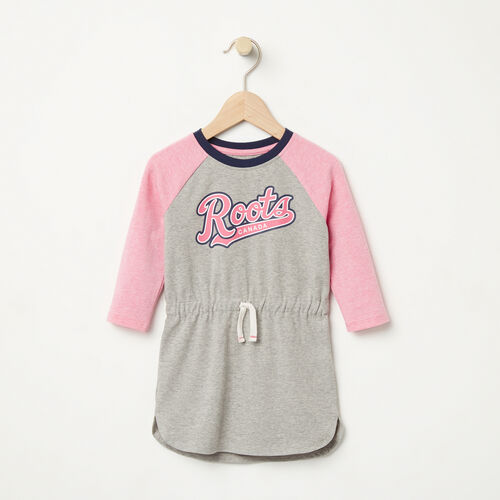Roots-Kids Dresses-Baby Tracy Script Dress-Grey Mix-A