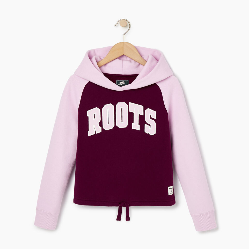 Roots-Sale Kids-Girls 2.0 Colour block Raglan Hoody-Pickled Beet-B
