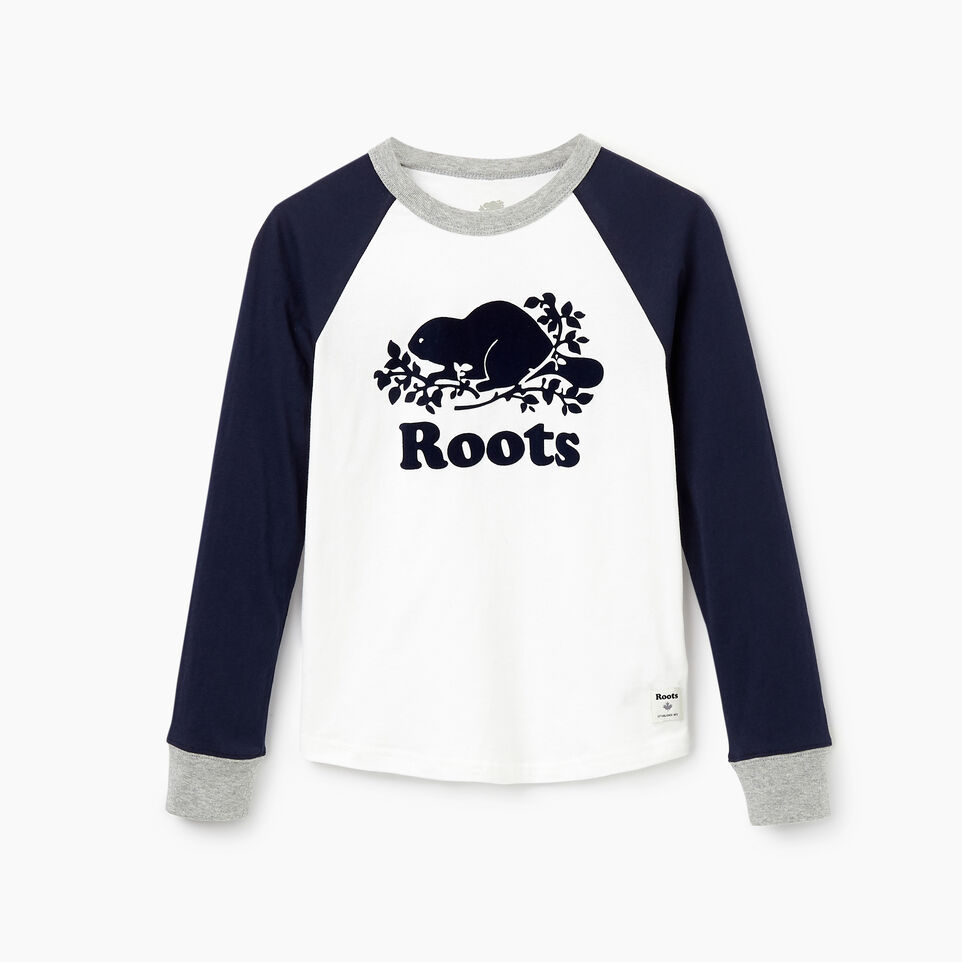 Roots-Kids New Arrivals-Boys Cooper Beaver Raglan T-shirt-Navy Blazer-A