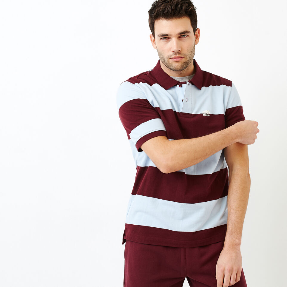 Roots-Men Categories-Heritage Striped Pique Polo-Northern Red-A