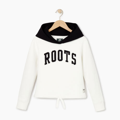 Roots-Kids Our Favourite New Arrivals-Girls 2.0 Colour block Raglan Hoody-Ivory-A