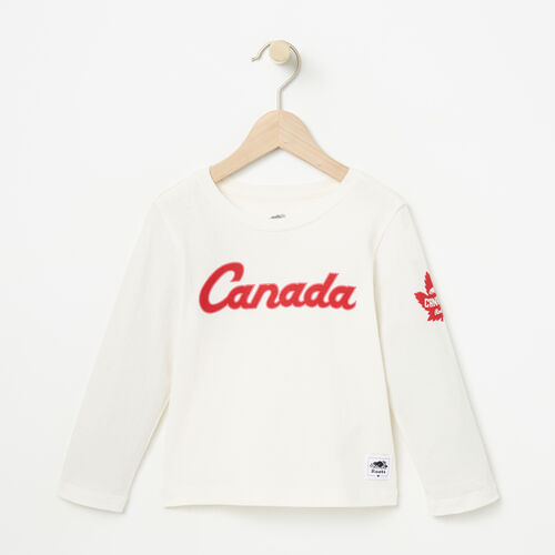 Roots-Kids Canada Collection-Toddler Heritage Script Long Sleeve Top-Pristine White-A