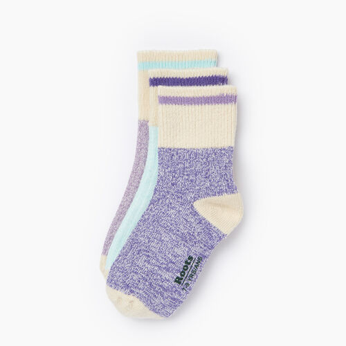 Roots-Kids Our Favourite New Arrivals-Kids Cotton Cabin Ankle Sock 3 Pack-Violet Storm-A