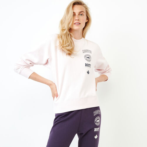 Roots-Women Our Favourite New Arrivals-Stamps Crew Sweatshirt-Cradle Pink-A