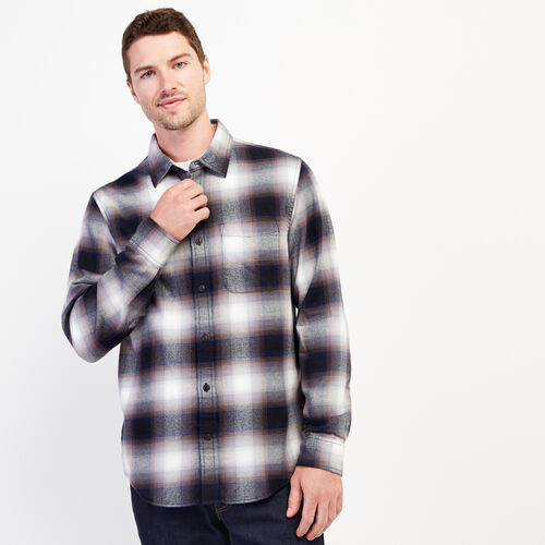 Roots-Men Shirts & Polos-Wallace Flannel Shirt-Forged Iron-A