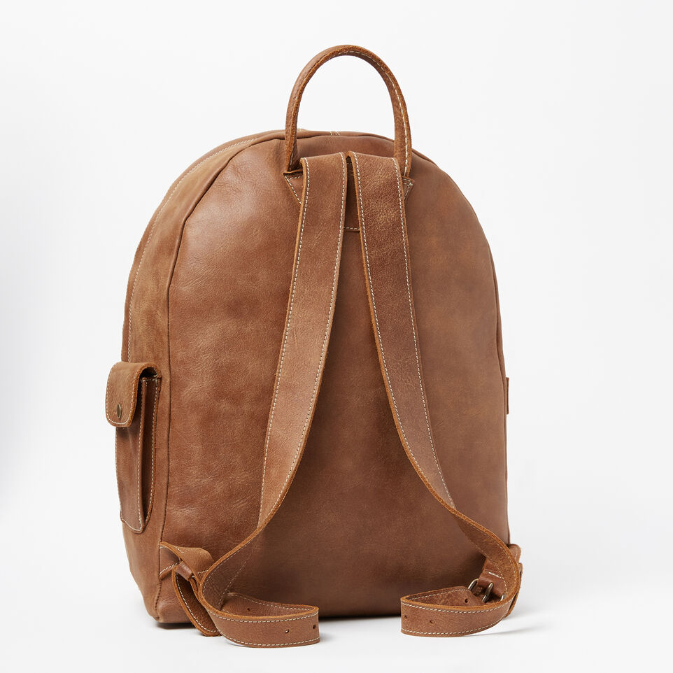 Roots-Leather Backpacks-Student Pack Tribe-Natural-C