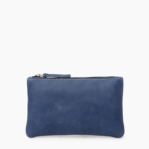 Roots-Leather Leather Accessories-Medium Zip Pouch Tribe-Denim Blue-A