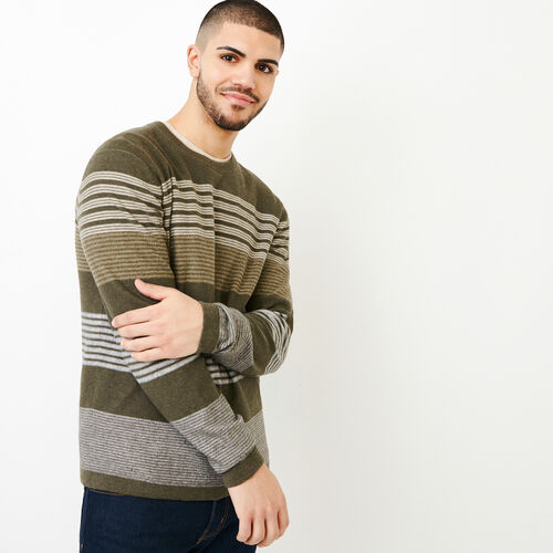 Roots-Men Sweaters & Cardigans-Canoe Lake Stripe Crew Sweater-Fatigue Mix-A