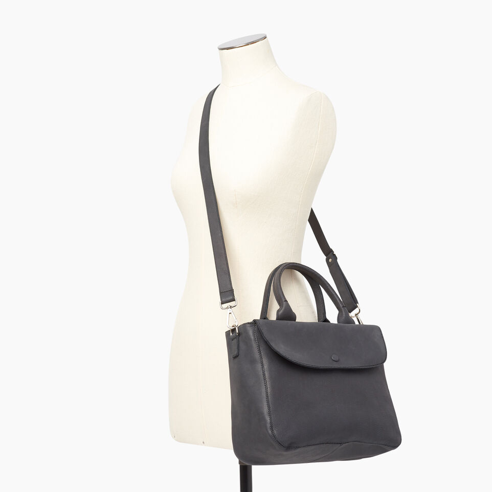 Roots-Clearance Leather-Riverdale Tote-Jet Black-B