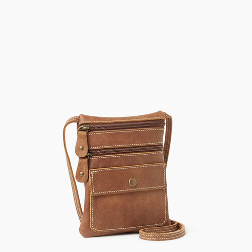 Roots-Leather Crossbody-Hanging Pouch Tribe-Natural-A