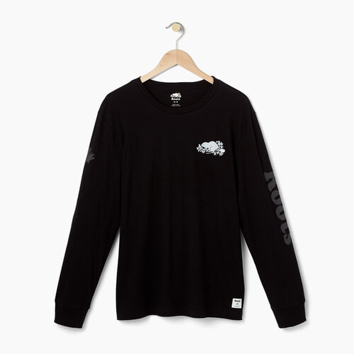 Roots-Gifts Gifts For Him-Mens Cooper Remix Long Sleeve T-shirt-Black-A