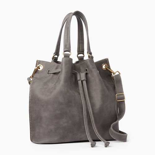 Roots-Leather  Handcrafted By Us Tribe Leather-Hailee Drawstring Bag Tribe-Charcoal-A